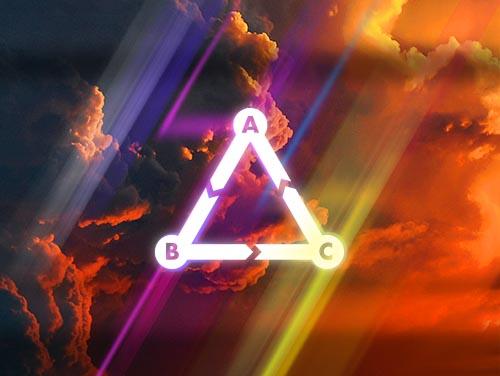 triangle shape over clouds